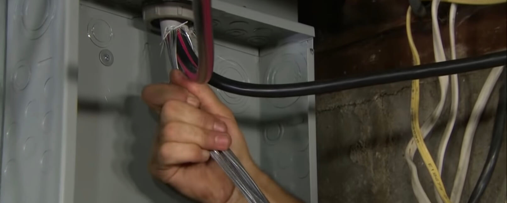 pull wires through for new 200 amp panel